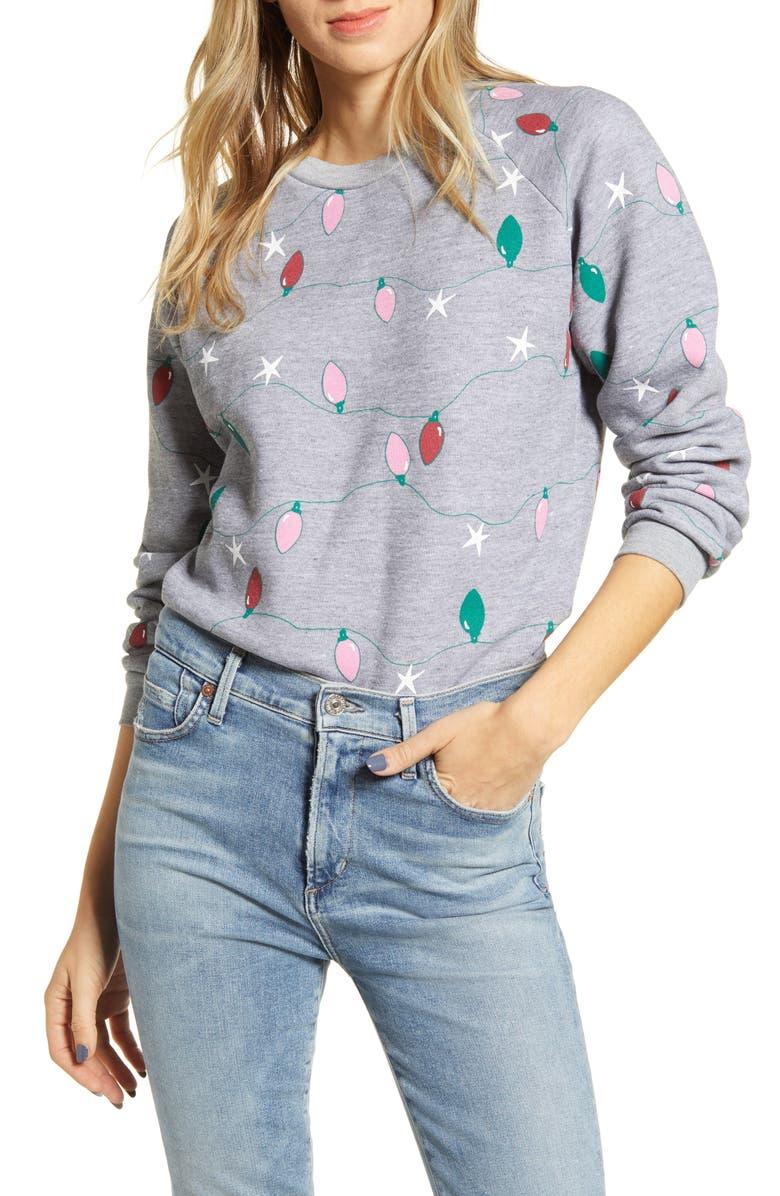 WILDFOX Twinkle Lights Fiona Crewneck Sweatshirt, Main, color, 020