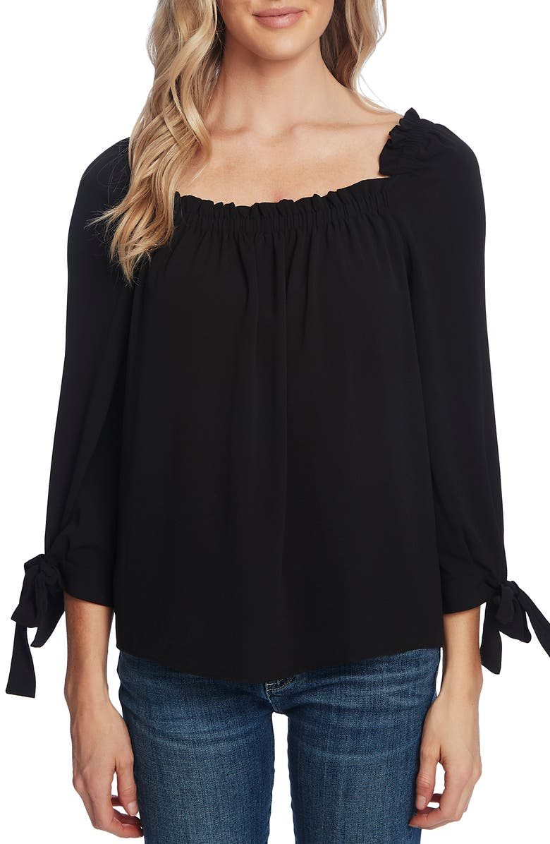 CECE Square Neck Tie Cuff Crepe Top, Main, color, RICH BLACK