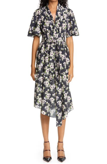 Image of Adam Lippes Floral Asymmetrical Cotton & Silk Dress