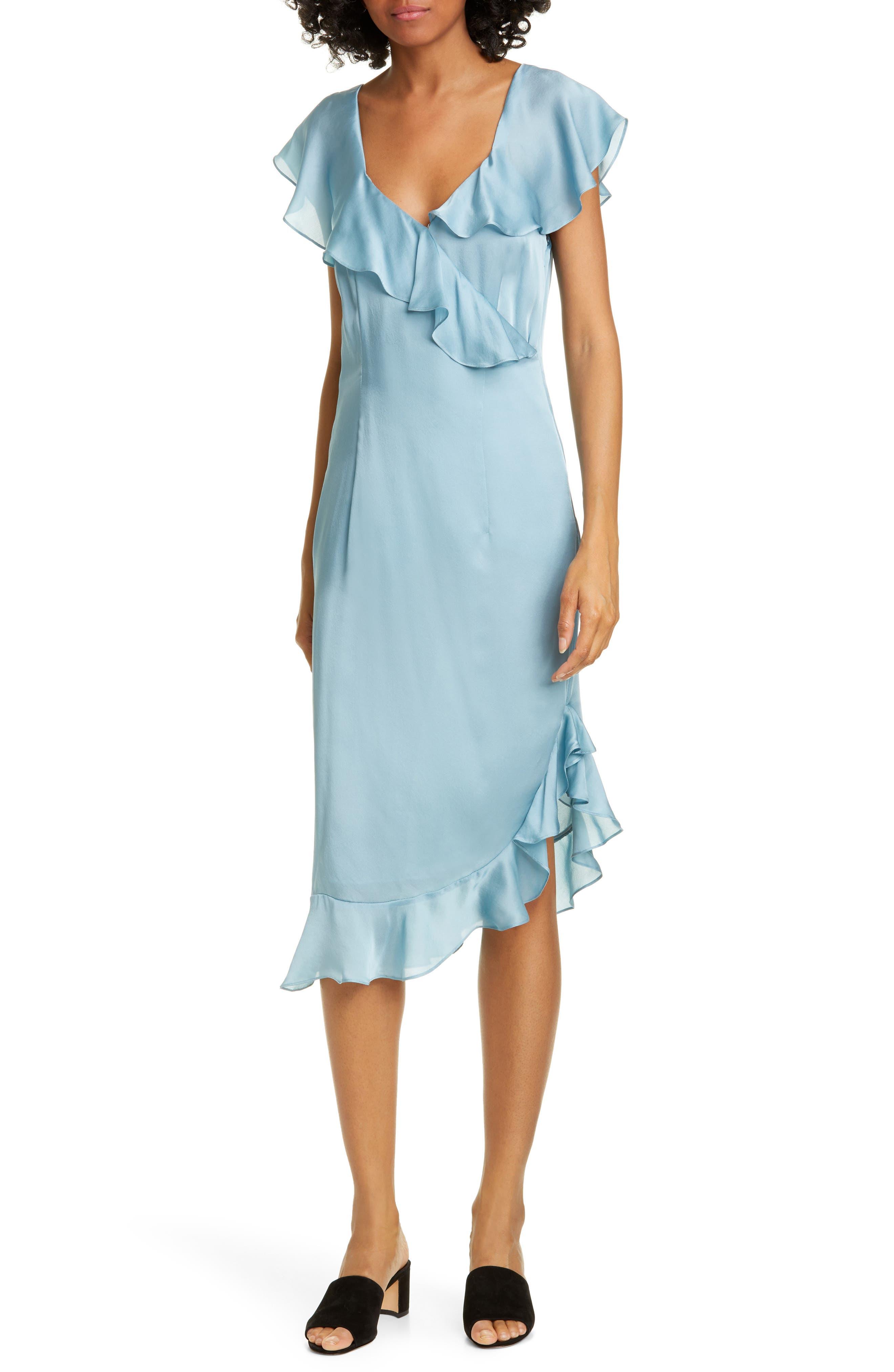 Opening Ceremony Cascade Ruffle Silk Dress, Blue