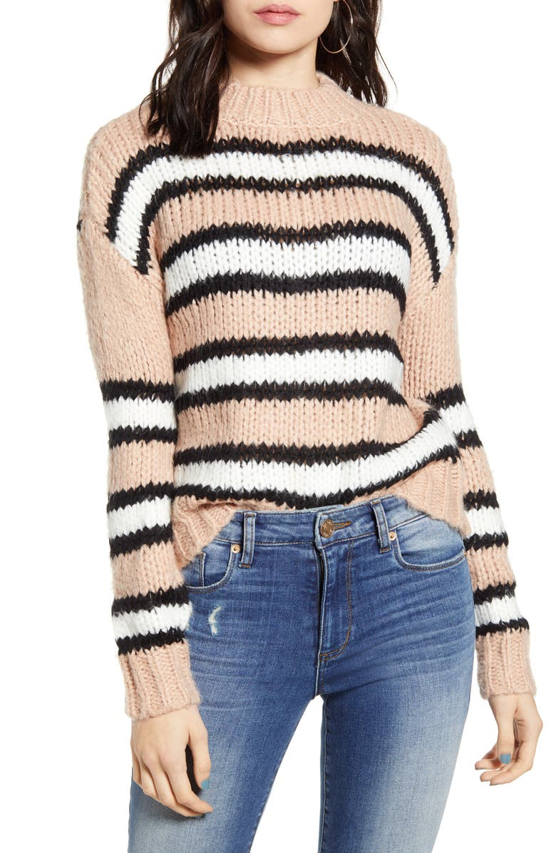 WOVEN HEART Striped Cozy Sweater, Main, color, PINK STRIPE