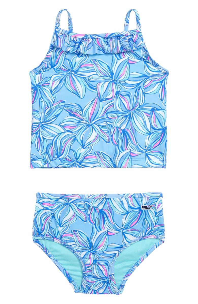VINEYARD VINES Plumeria Print Two-Piece Tankini Swimsuit, Main, color, JAKE BLUE