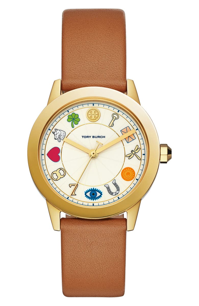 TORY BURCH Gigi Leather Strap Watch, 36mm, Main, color, 200