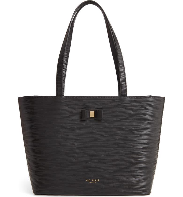 TED BAKER LONDON Deannah Leather Shopper & Pouch, Main, color, BLACK