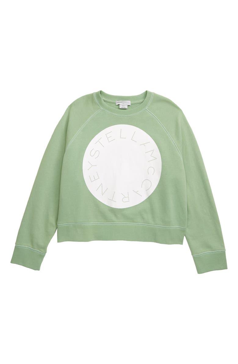 STELLA MCCARTNEY KIDS Stella McCartney Circle Logo Organic Cotton Sweatshirt, Main, color, 300