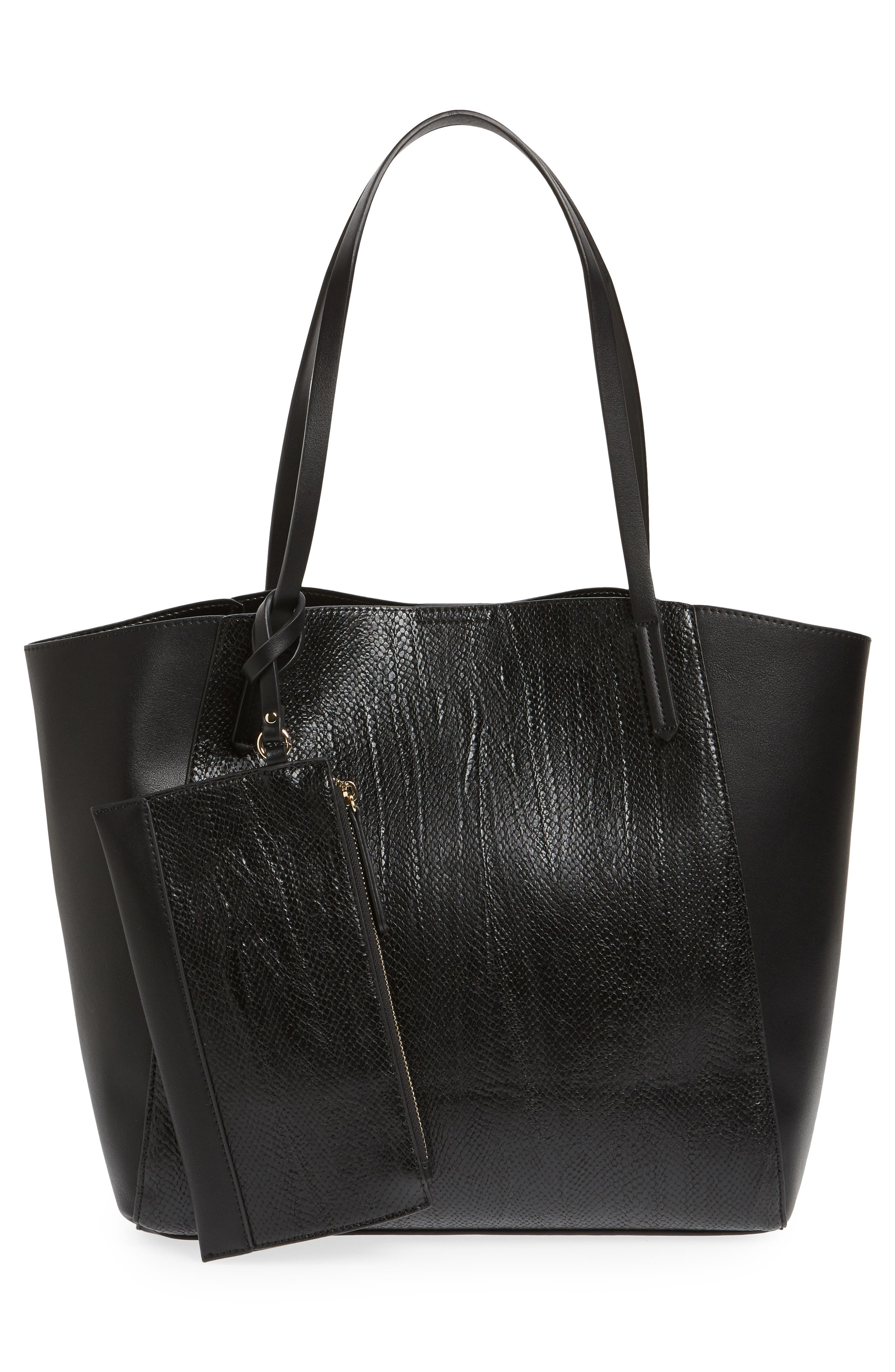 ,                             Colorblock Faux Leather Tote,                             Alternate thumbnail 9, color,                             001