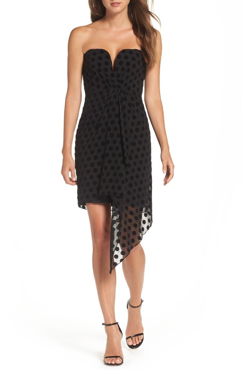 BARDOT Strapless Flocked Velvet Spot Dress, Main, color, 001