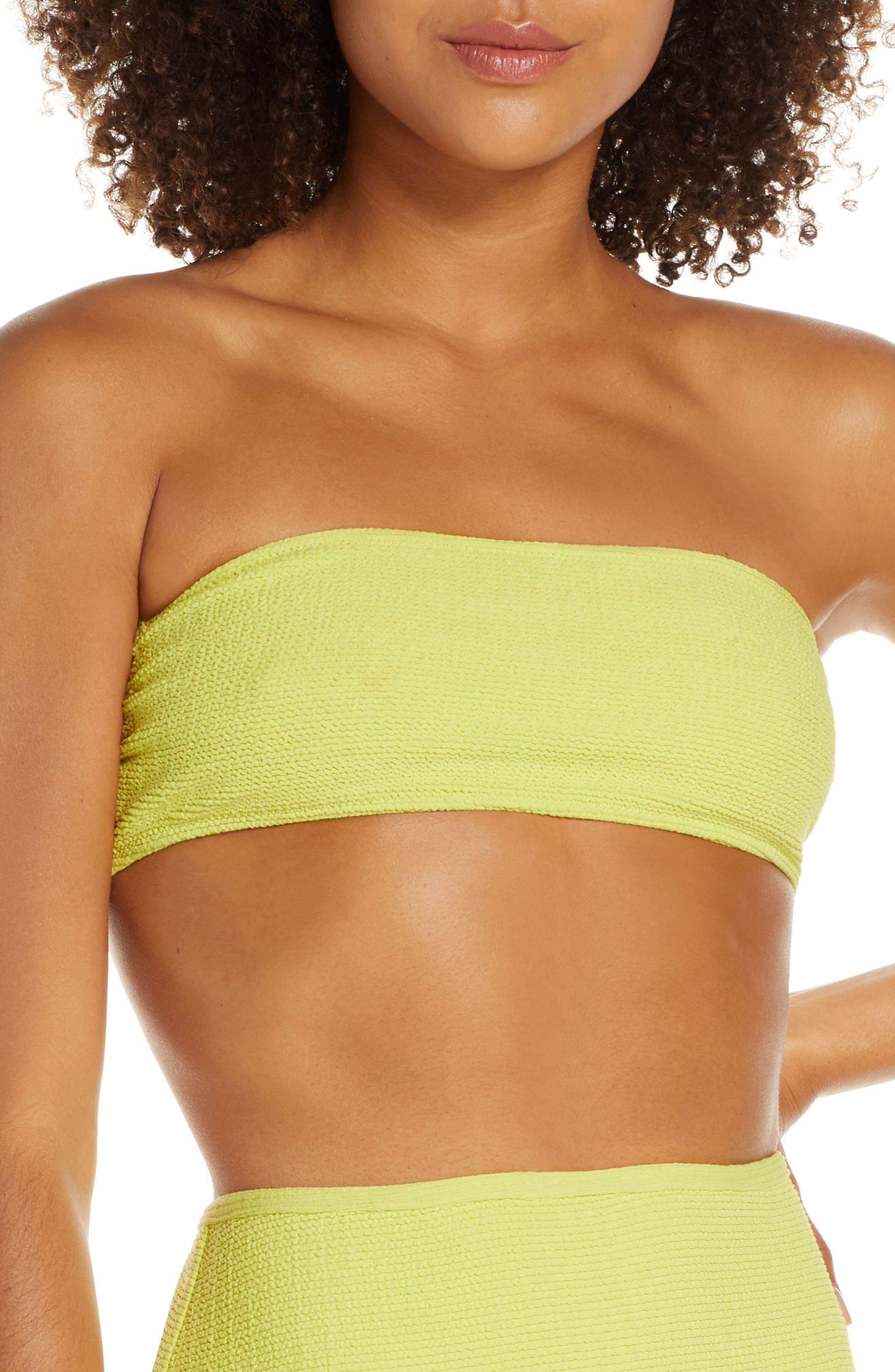 Solid & Striped The Violet Bandeau Bikini Top, Green
