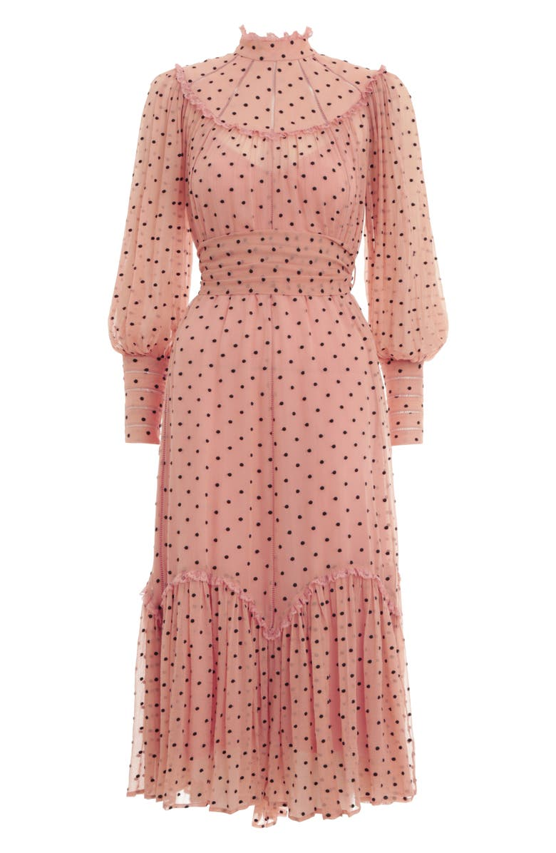 ZIMMERMANN Espionage Swing Yoke Long Sleeve Silk Midi Dress, Main, color, DIRTY PEACH/ BLACK DOT