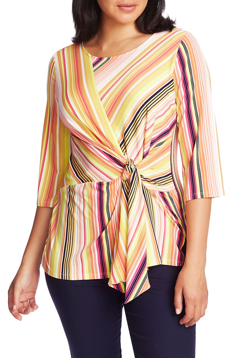 CHAUS Stripe Knot Front Stretch Knit Top, Main, color, ANTIQ. WHITE