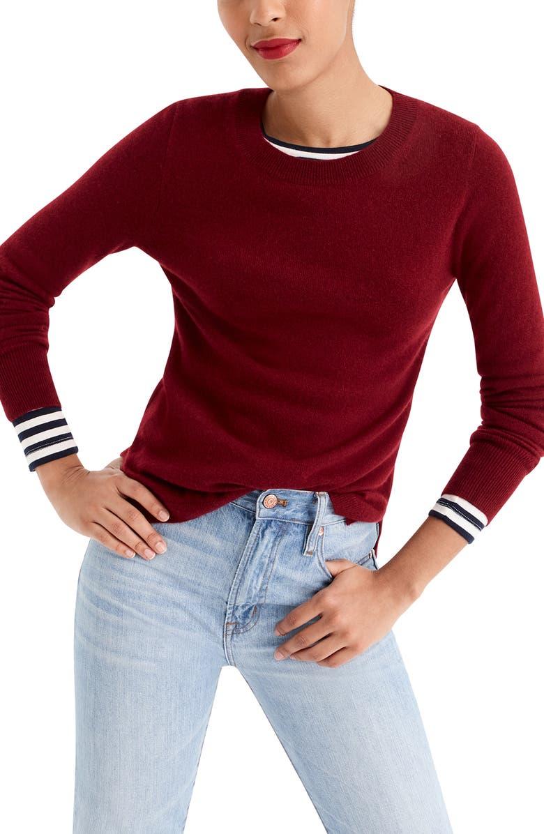 J.CREW Crewneck Cashmere Sweater, Main, color, BURGUNDY