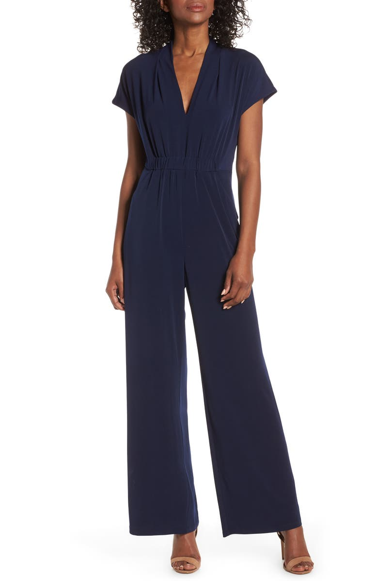 VINCE CAMUTO Cinched Waist Jumpsuit, Main, color, NAVY