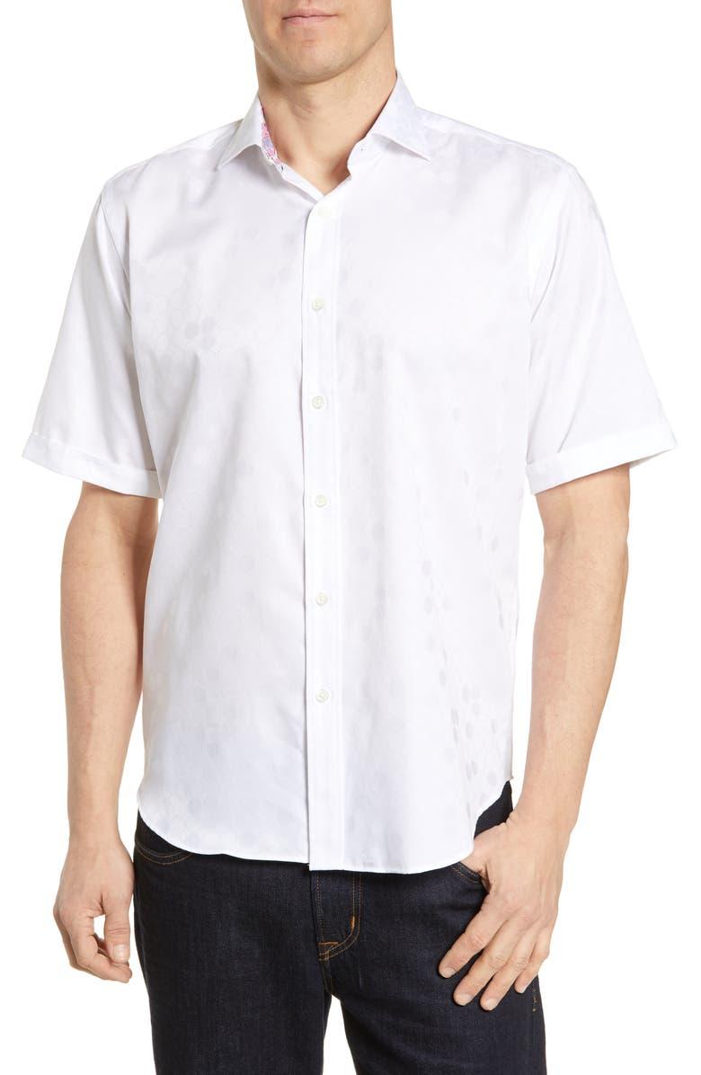 BUGATCHI Classic Fit Dot Print Shirt, Main, color, WHITE