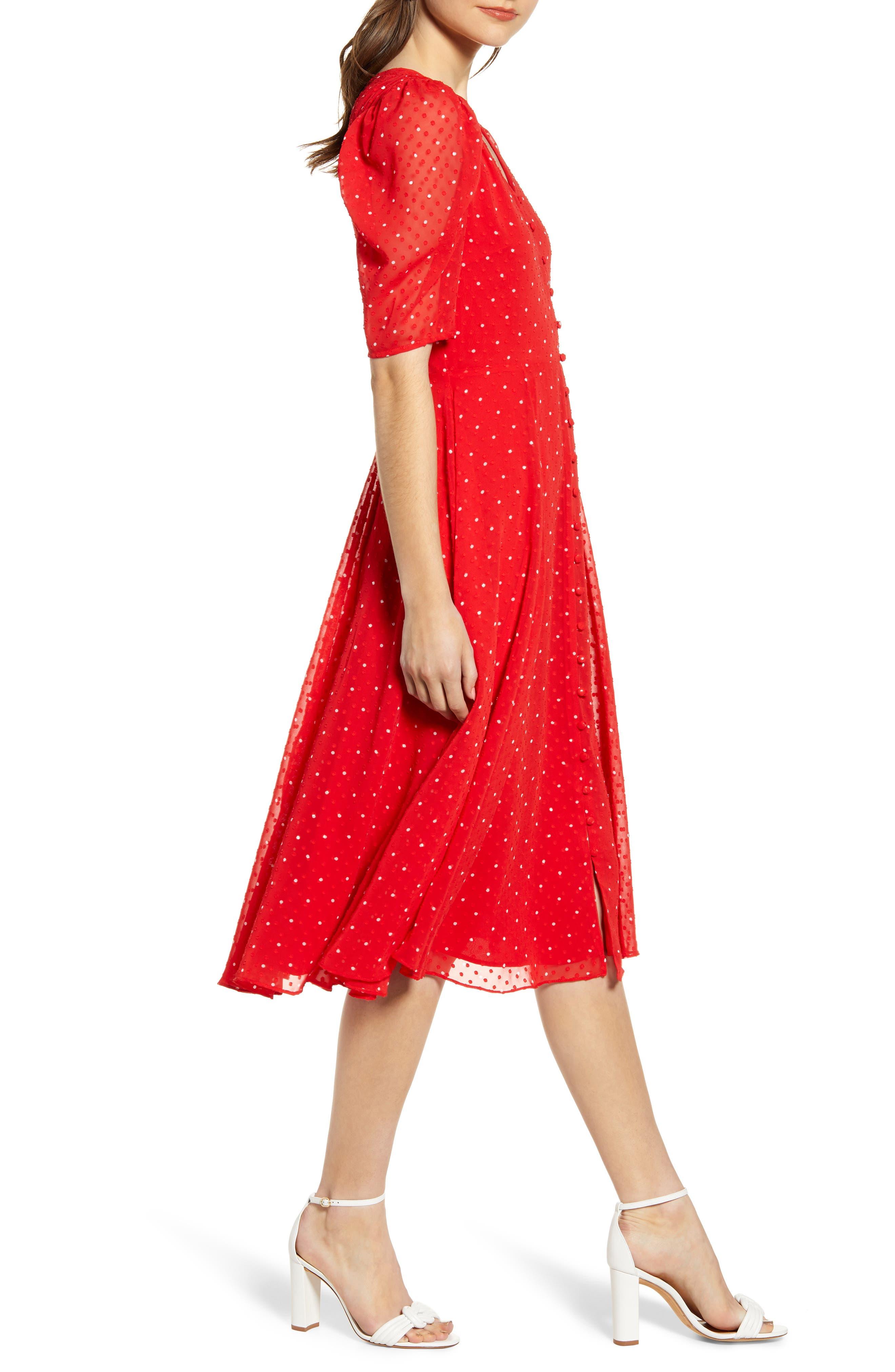 ,                             Chiffon A-Line Dress,                             Alternate thumbnail 4, color,                             RED CHINOISE DOT