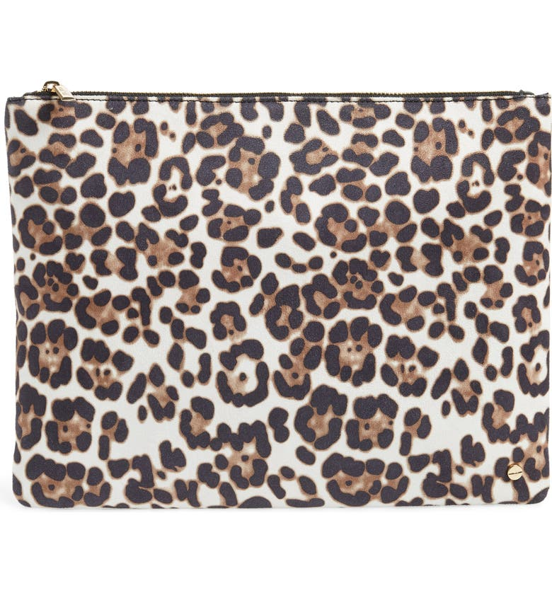 MALI + LILI Molly Leopard Print Vegan Leather Clutch, Main, color, 100