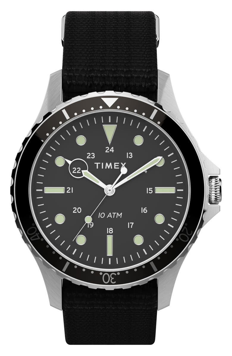 TIMEX<SUP>®</SUP> Navi XL NATO Strap Watch, 41mm, Main, color, BLACK/ SILVER