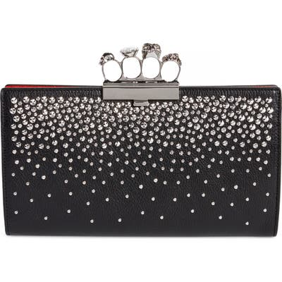 Alexander Mcqueen Studded Knuckle Clasp Leather Clutch - Black