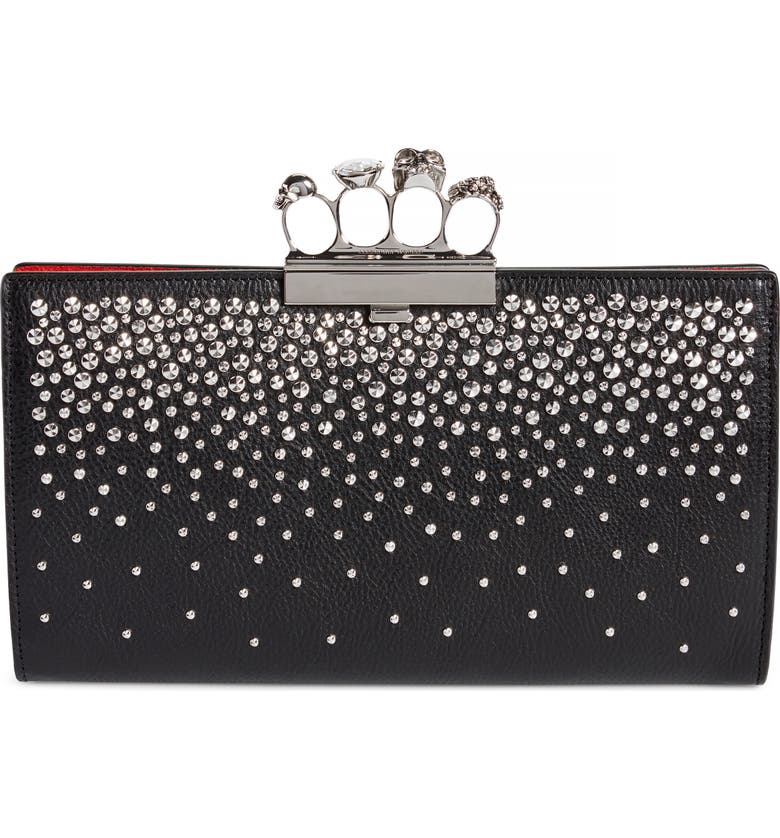 ALEXANDER MCQUEEN Studded Knuckle Clasp Leather Clutch, Main, color, BLACK