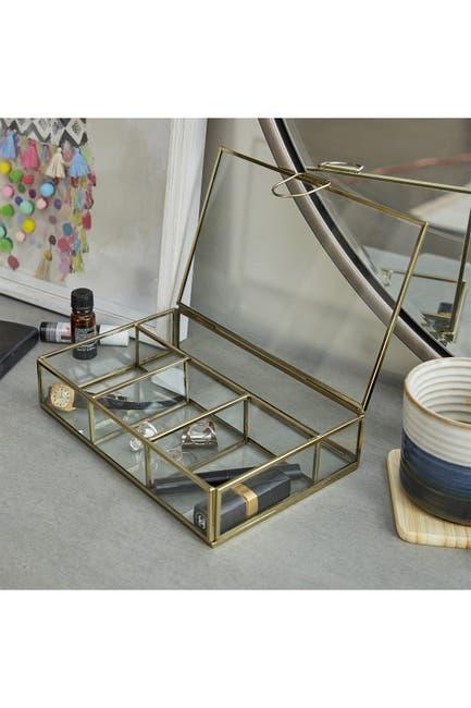 Image of CosmoLiving by Cosmopolitan Large Rectangular Modern Gold Metal & Glass Jewelry Box