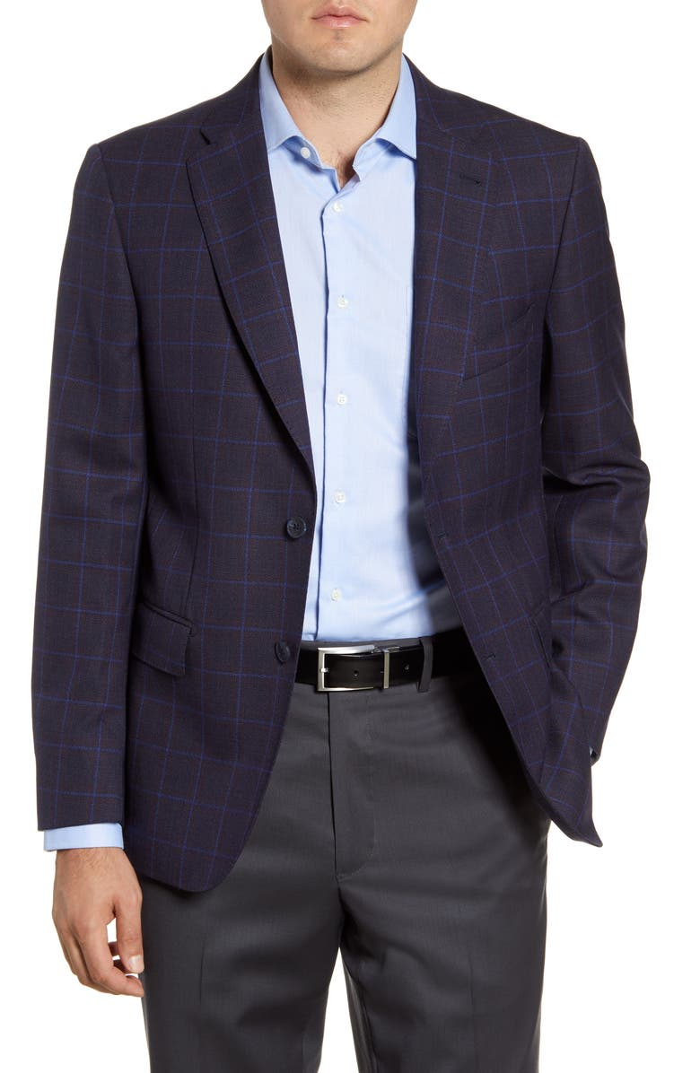 JOHN W. NORDSTROM<SUP>®</SUP> Regular Fit Windowpane Wool Sport Coat, Main, color, NAVY BLAZER BLUE WINDOWPANE