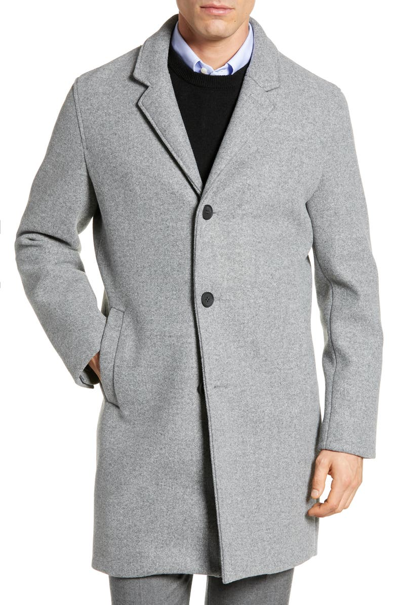 COLE HAAN Regular Fit Stretch Wool Coat, Main, color, GREY