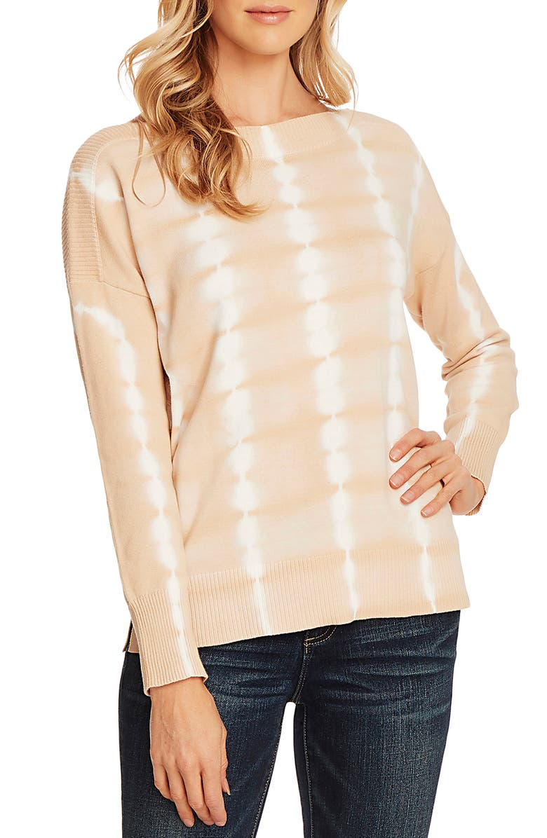 VINCE CAMUTO Tie Dye Boatneck Long Sleeve Cotton Sweater, Main, color, LIGHT STONE