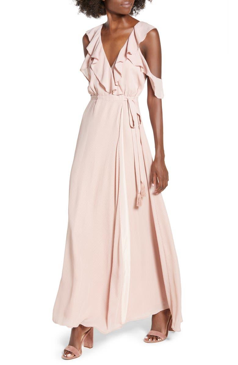 BB DAKOTA Don't Call Me Baby Cold Shoulder Wrap Dress, Main, color, 680