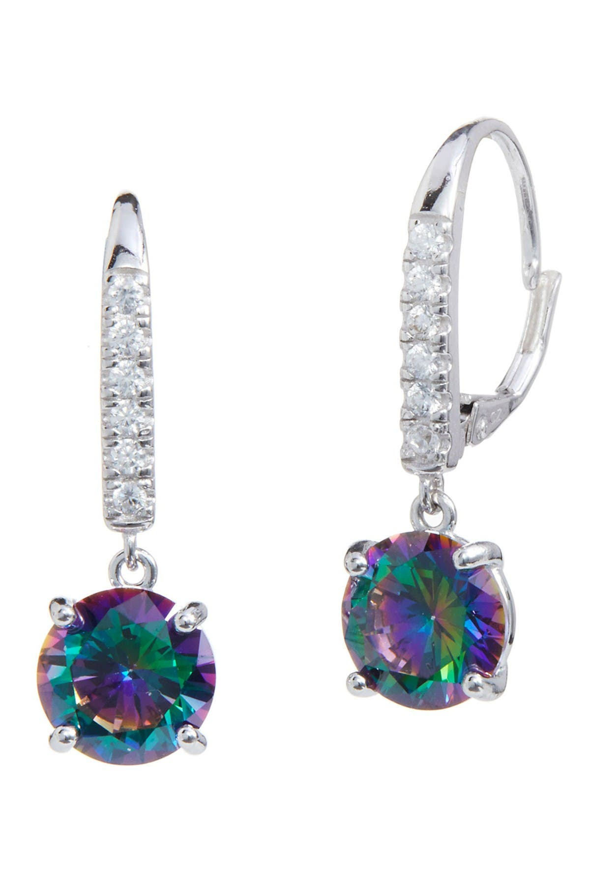 Image of Savvy Cie Sterling Silver Mystic Topaz & CZ Drop Earrings