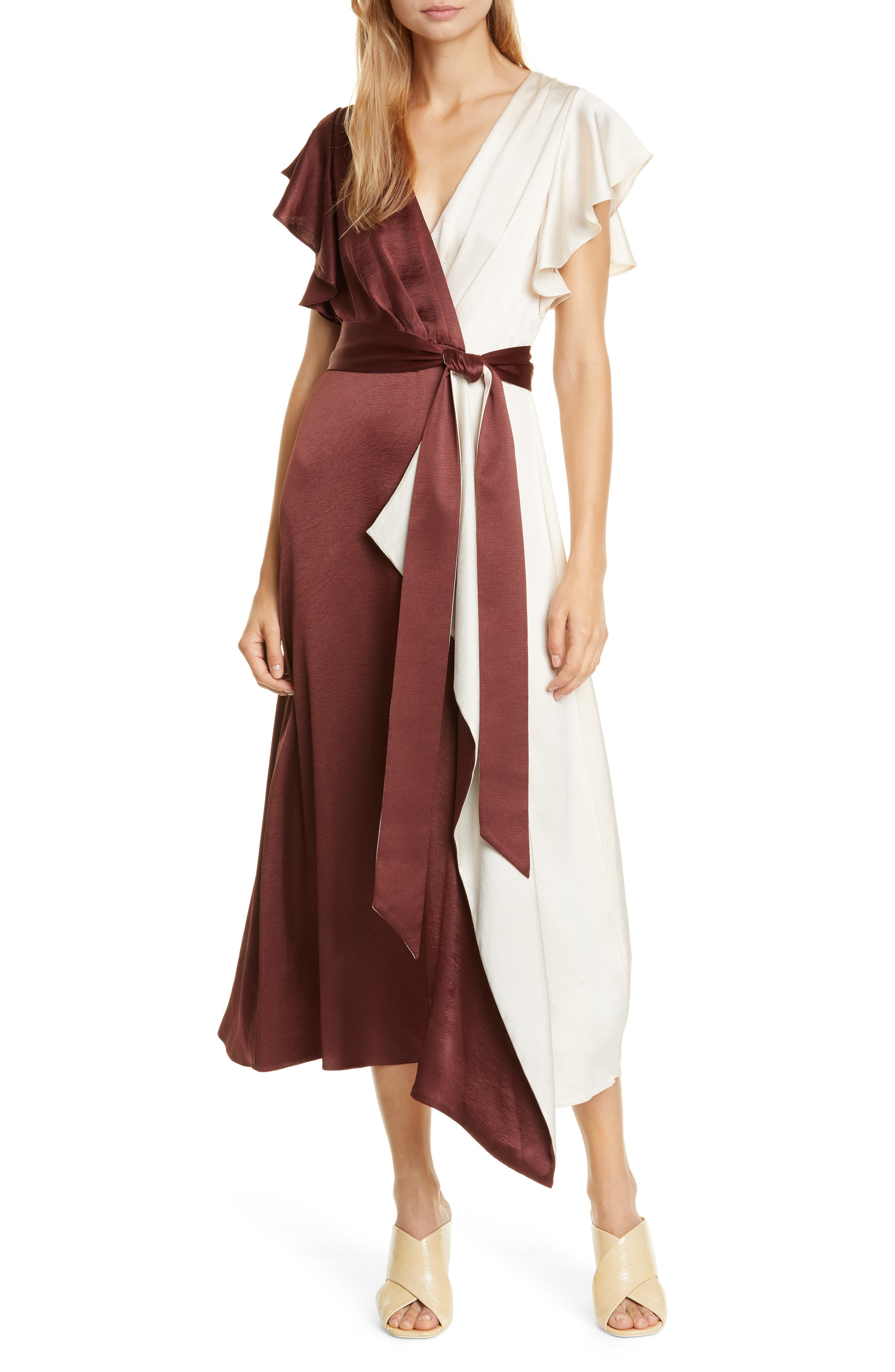 70s Prom, Formal, Evening, Party Dresses Womens Kate Spade New York Colorblock Faux Wrap Midi Dress $478.00 AT vintagedancer.com