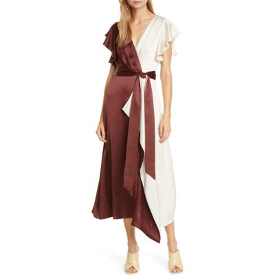 Kate Spade New York Colorblock Faux Wrap Midi Dress, Burgundy