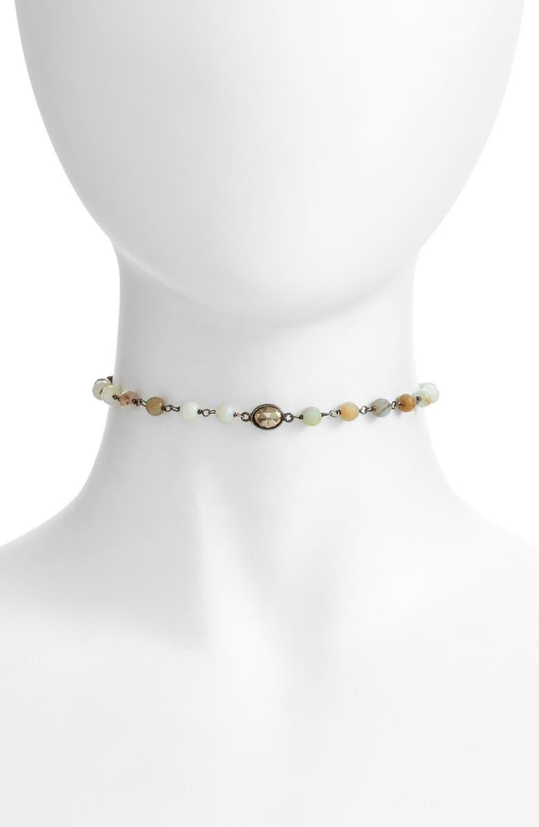 ELA RAE Libi Grand Choker Necklace, Main, color, PERUVIAN OPAL / PYRITE