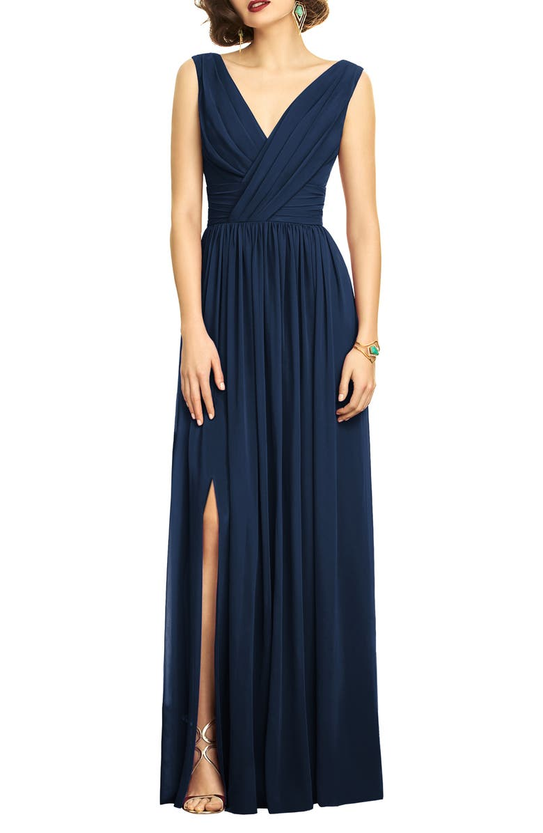 DESSY COLLECTION Surplice Ruched Chiffon Gown, Main, color, MIDNIGHT