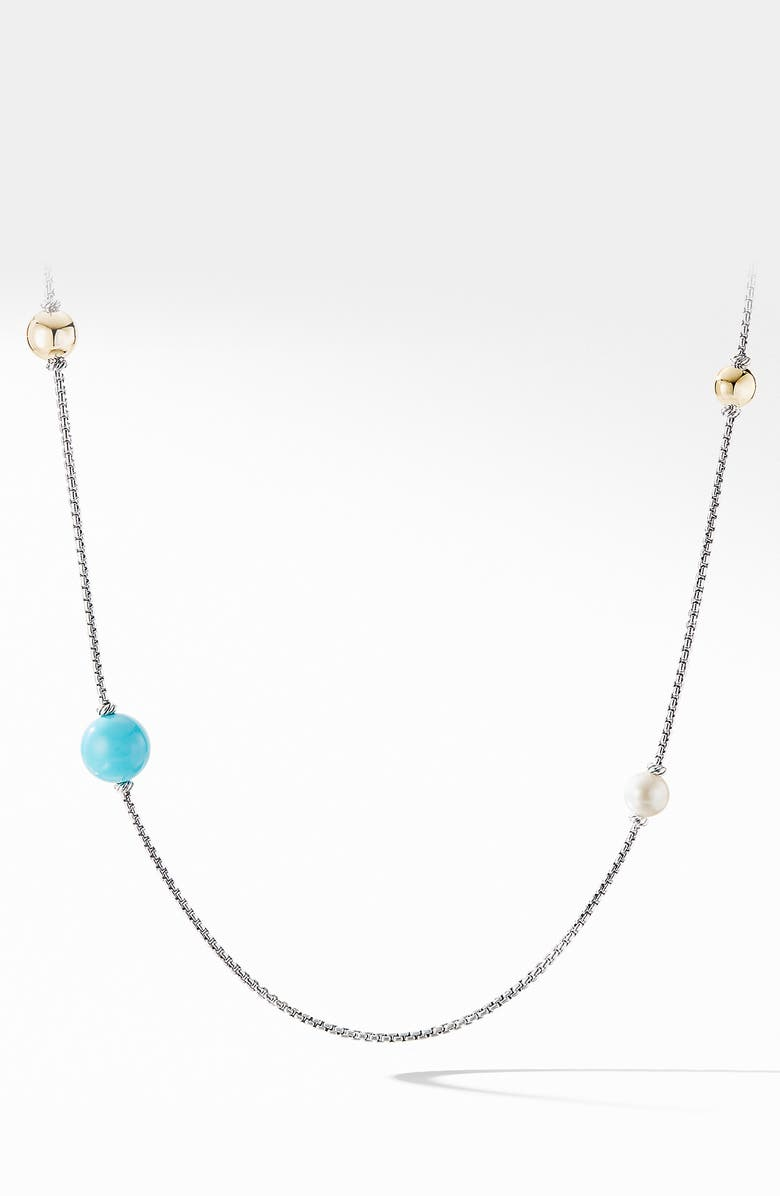 DAVID YURMAN Solari XL Station Chain Necklace with Reconstituted Turquoise, Pearls and 14K Yellow Gold, Main, color, RECONSTITUTED TURQUOISE