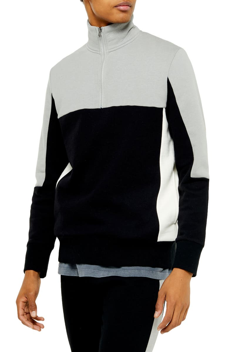 TOPMAN Colorblock Quarter Zip Pullover, Main, color, BLACK MULTI