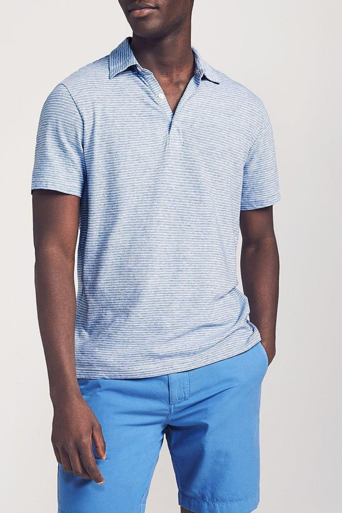 Image of FAHERTY BRAND Isle Stripe Short Sleeve Polo Shirt