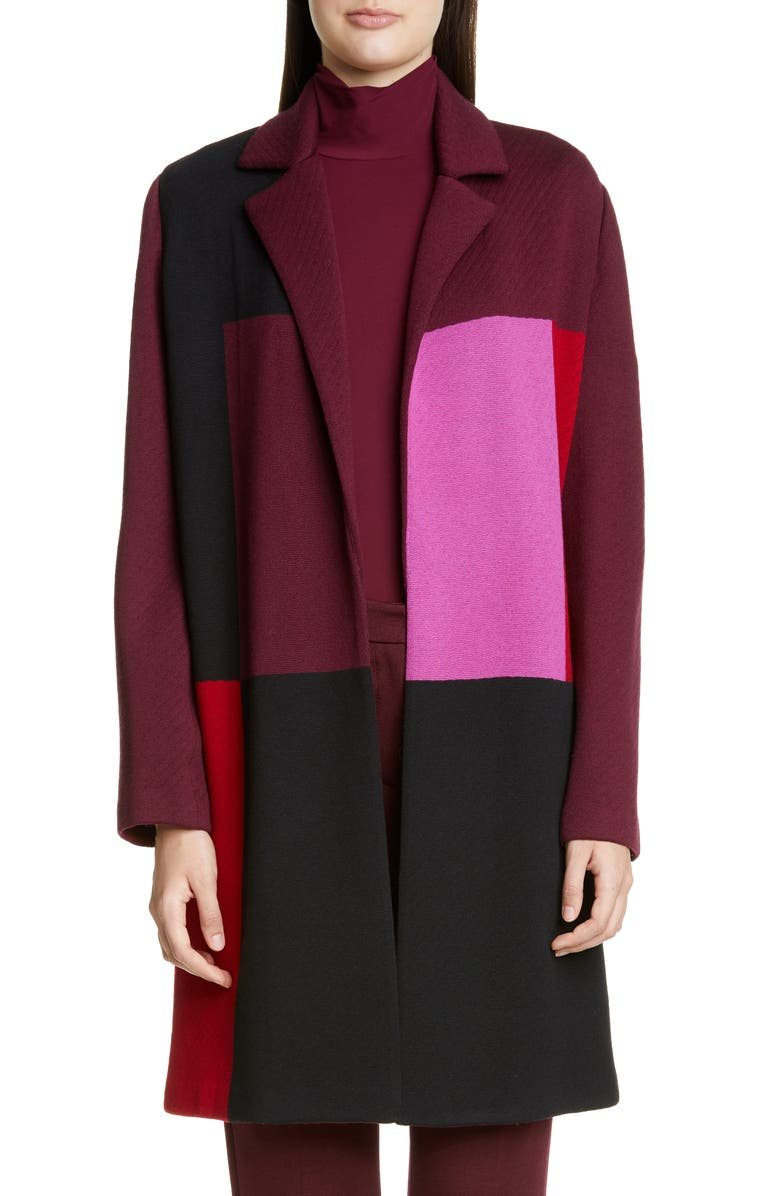 ST. JOHN COLLECTION Patchwork Colorblock Twill Knit Sweater Jacket, Main, color, CAVIAR/ RUBY MULTI