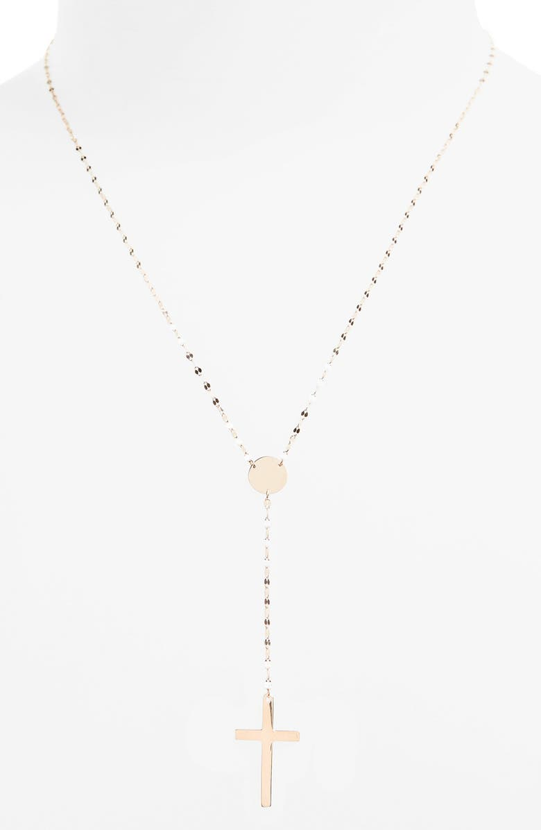LANA JEWELRY 'Crossary' Y-Necklace, Main, color, ROSE GOLD
