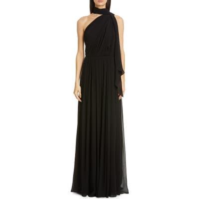 Max Mara Berger One Shoulder Silk Gown, Black