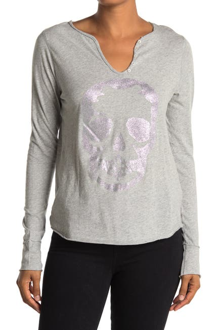 Image of Zadig & Voltaire Metallic Skull Print Long Sleeve T-Shirt