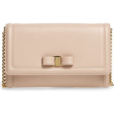 Salvatore Ferragamo Mini Vara Leather Crossbody Bag - Beige