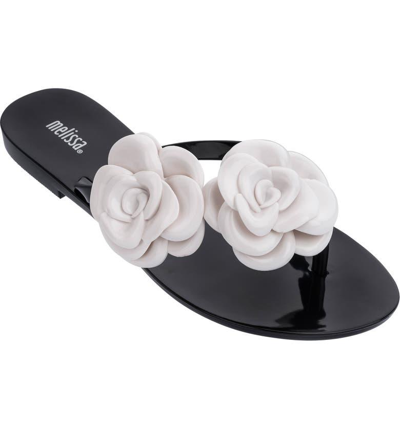 MELISSA Harmonic Flower Flip Flop, Main, color, BLACK WHITE RUBBER