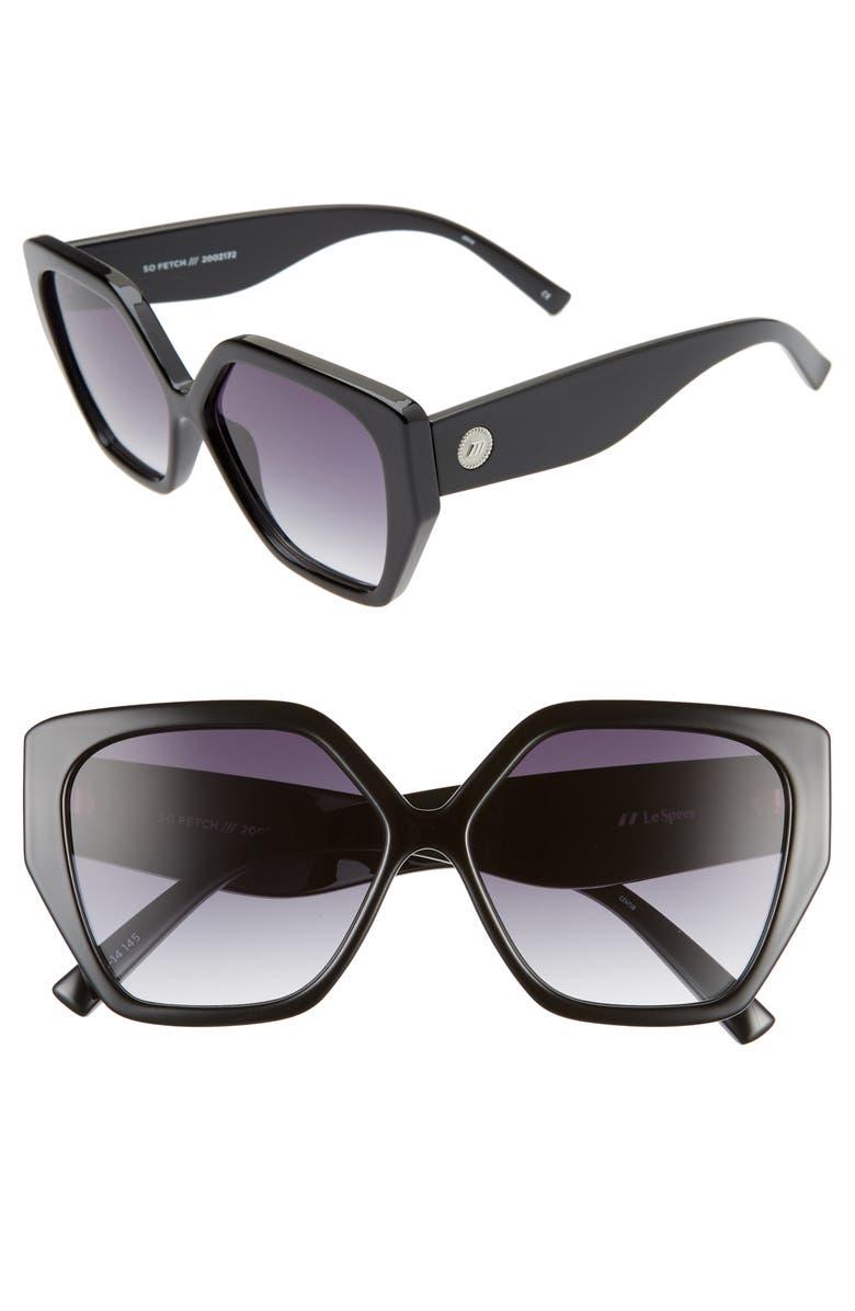 LE SPECS So Fetch 58mm Gradient Square Cat Eye Sunglasses, Main, color, 001