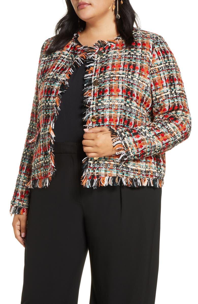 HALOGEN<SUP>®</SUP> Tweed Jacket, Main, color, BLACK- RED TWEED