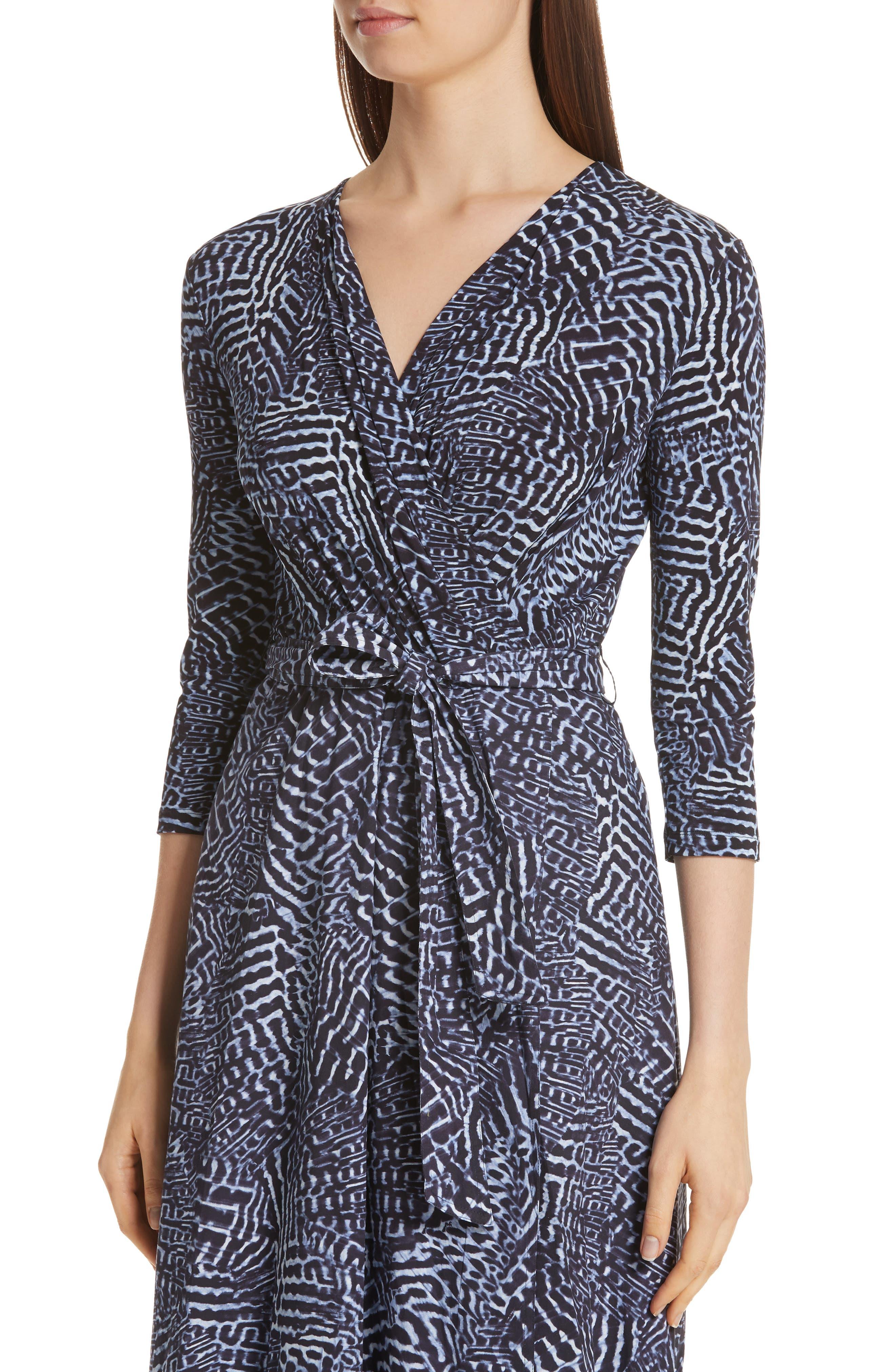 ,                             Acume Print Faux Wrap Dress,                             Alternate thumbnail 5, color,                             CORNFLOWER BLUE