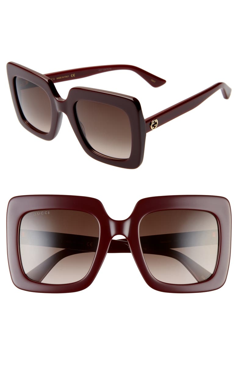 GUCCI 53mm Square Sunglasses, Main, color, SHINY SOLID BURGUNDY
