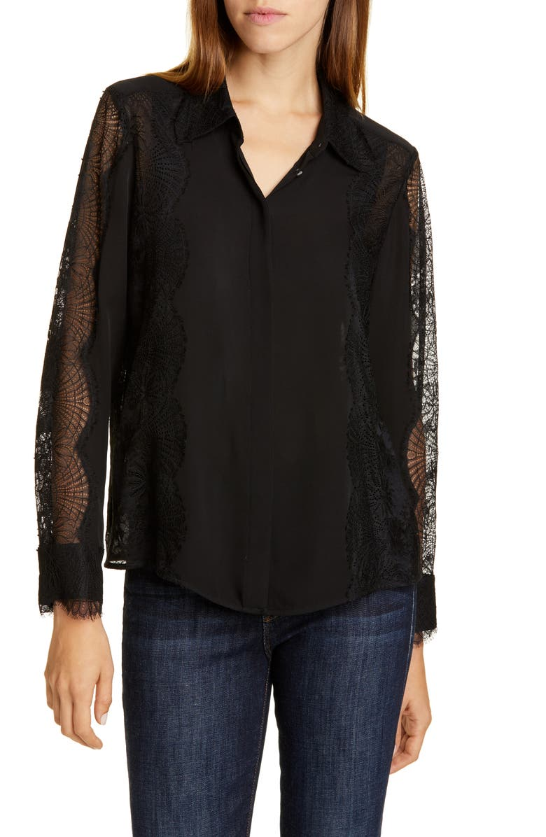 TAILORED BY REBECCA TAYLOR Lace Detail Silk Blouse, Main, color, BLACK