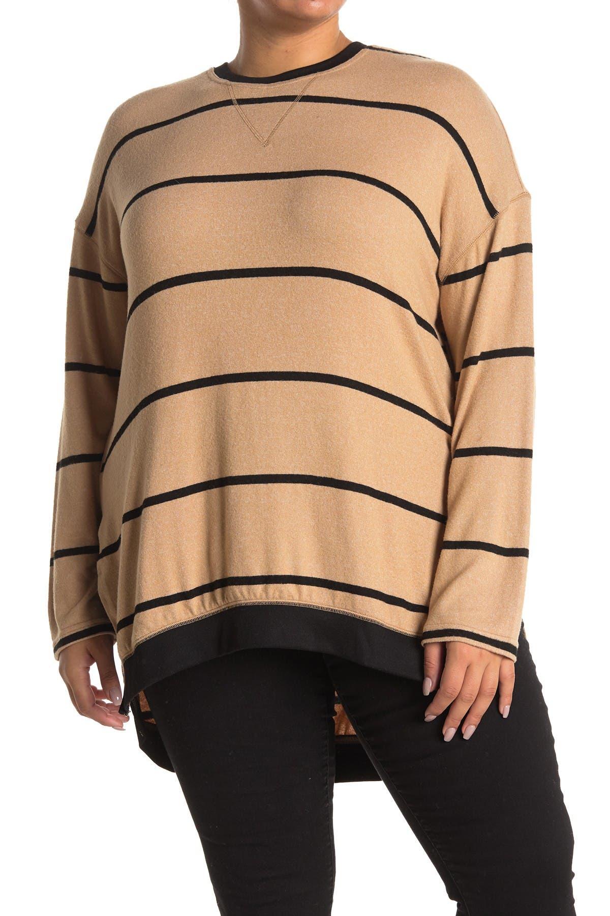 Melloday Stripe Fleece Hi-lo Tunic In Open Beige7