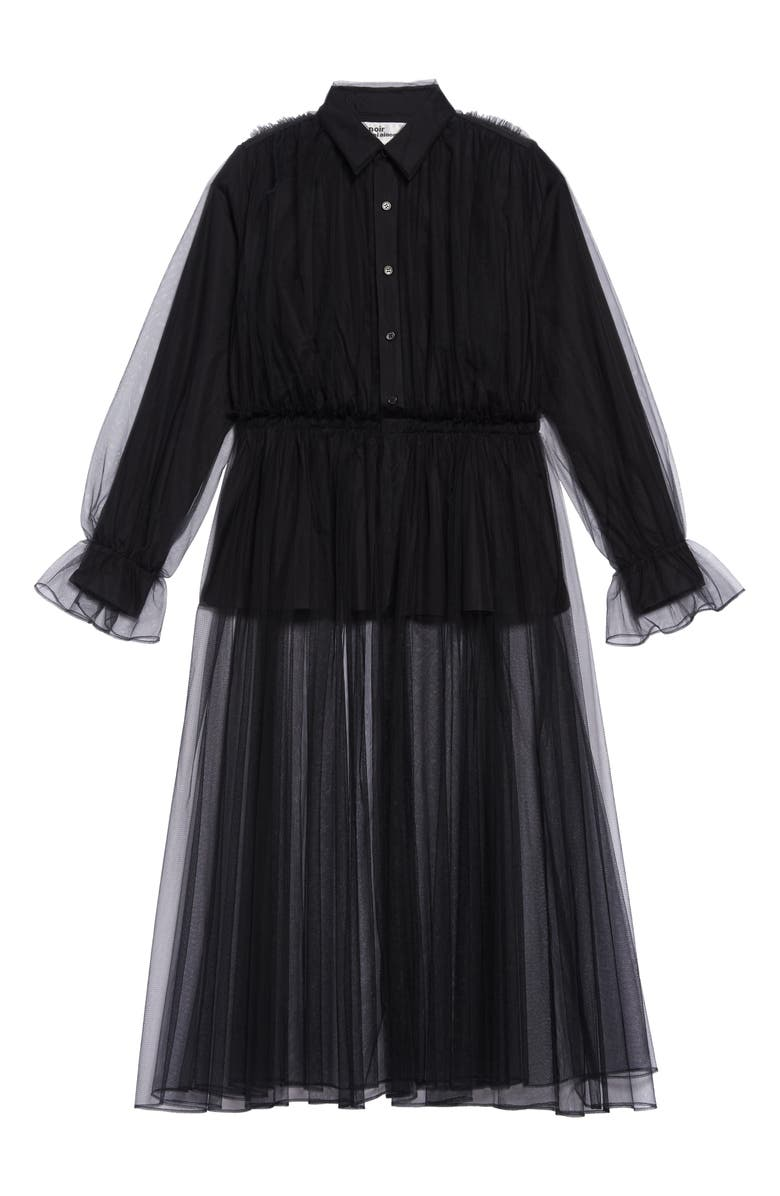 NOIR KEI NINOMIYA Long Sleeve Tulle Overlay Midi Dress, Main, color, 001