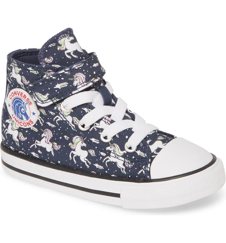 CONVERSE Chuck Taylor<sup>®</sup> All Star<sup>®</sup> Unicorns High Top Sneaker, Main, color, NAVY/ BLACK/ WHITE
