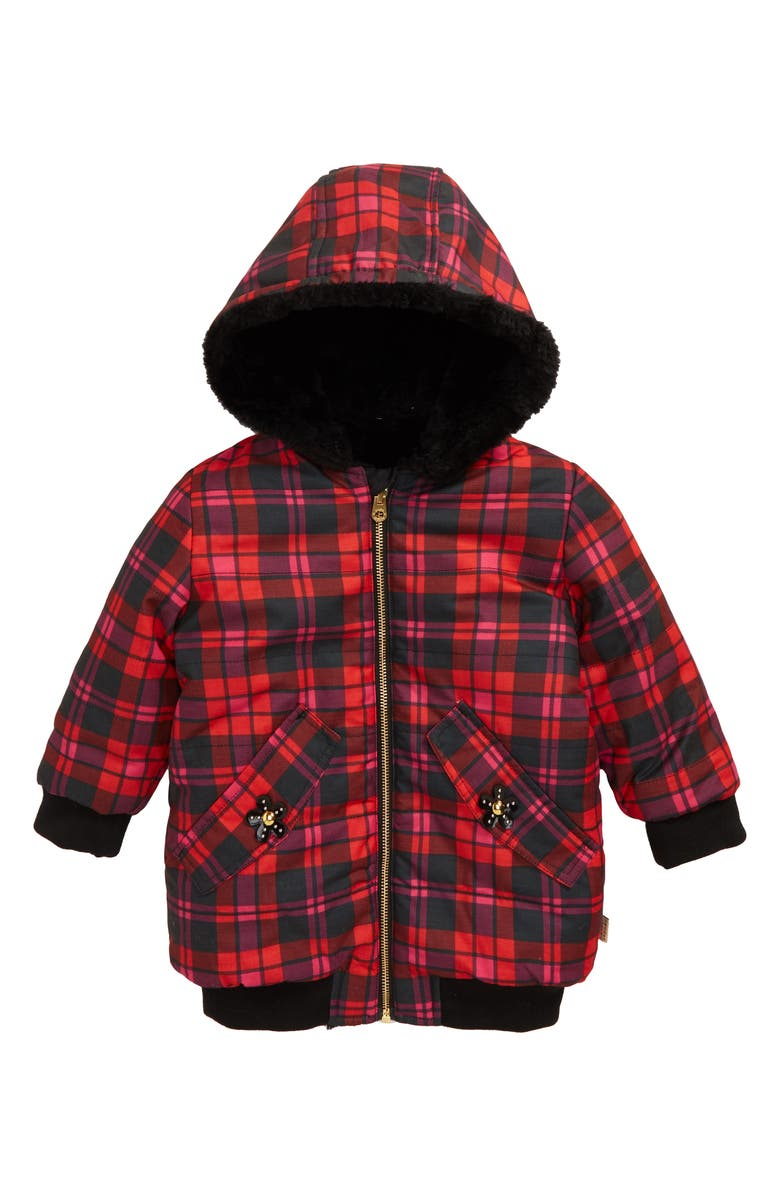 LITTLE MARC JACOBS Reversible Faux Fur Puffer Jacket, Main, color, PINK/ GREY